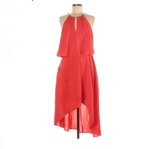 Adrianna Papell Cocktail Dress Haltered Ruffle